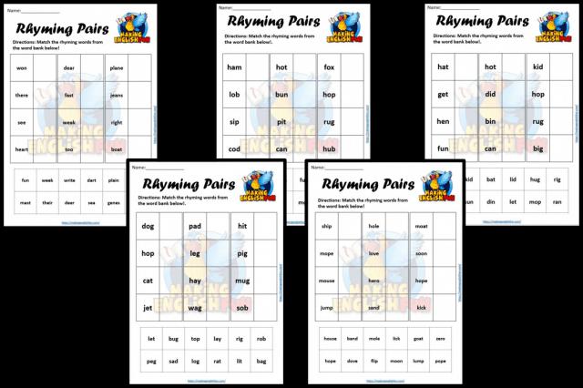 Rhyming pairs Worksheet set